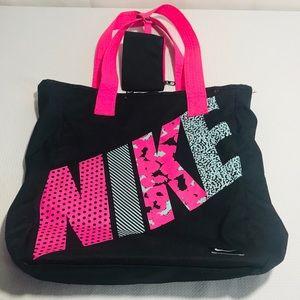 Pink and Black Nike bag with wristlet